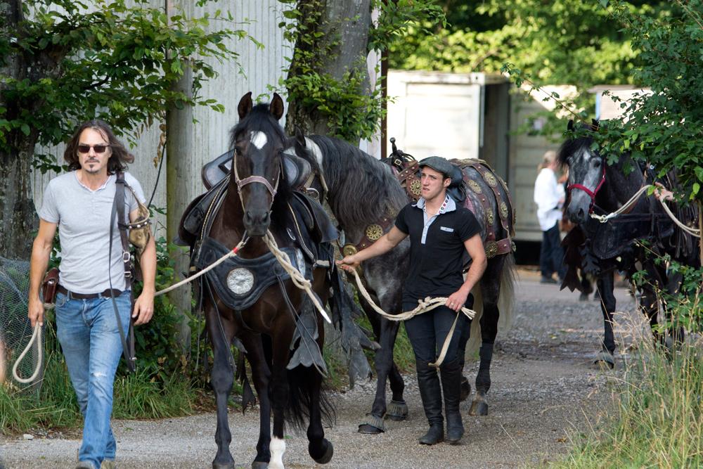 Ruhe vor dem Sturm: Kurz vor dem Aufritt findet man die Pferde in völlig entspanntem Zustand vor.