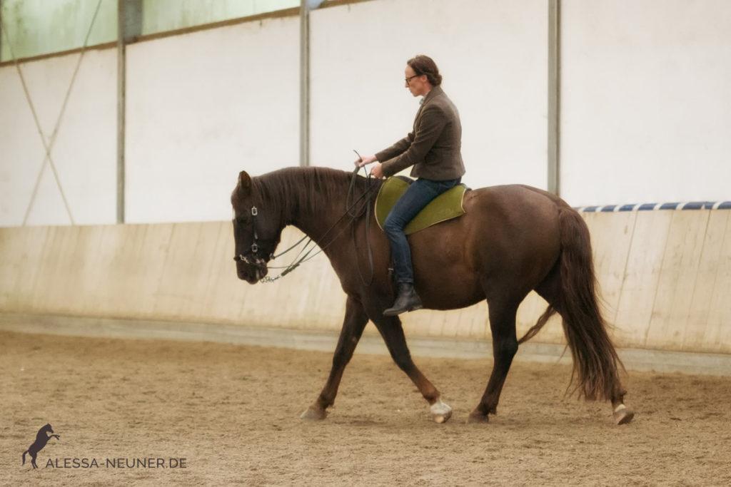 Die Qualität eines Vorwärts wird nicht durch Geschwindigkeit bestimmt. Hier schön zu sehen bei Trainerin Claudia Strauß mit Limone.